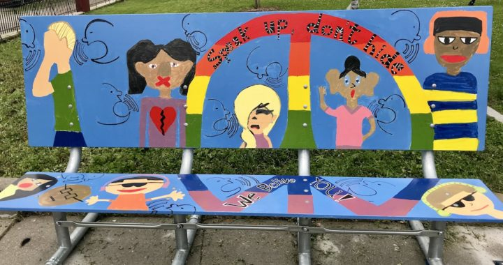 "M.S. 223 students' bench mural bears a message: ""Speak Up"""