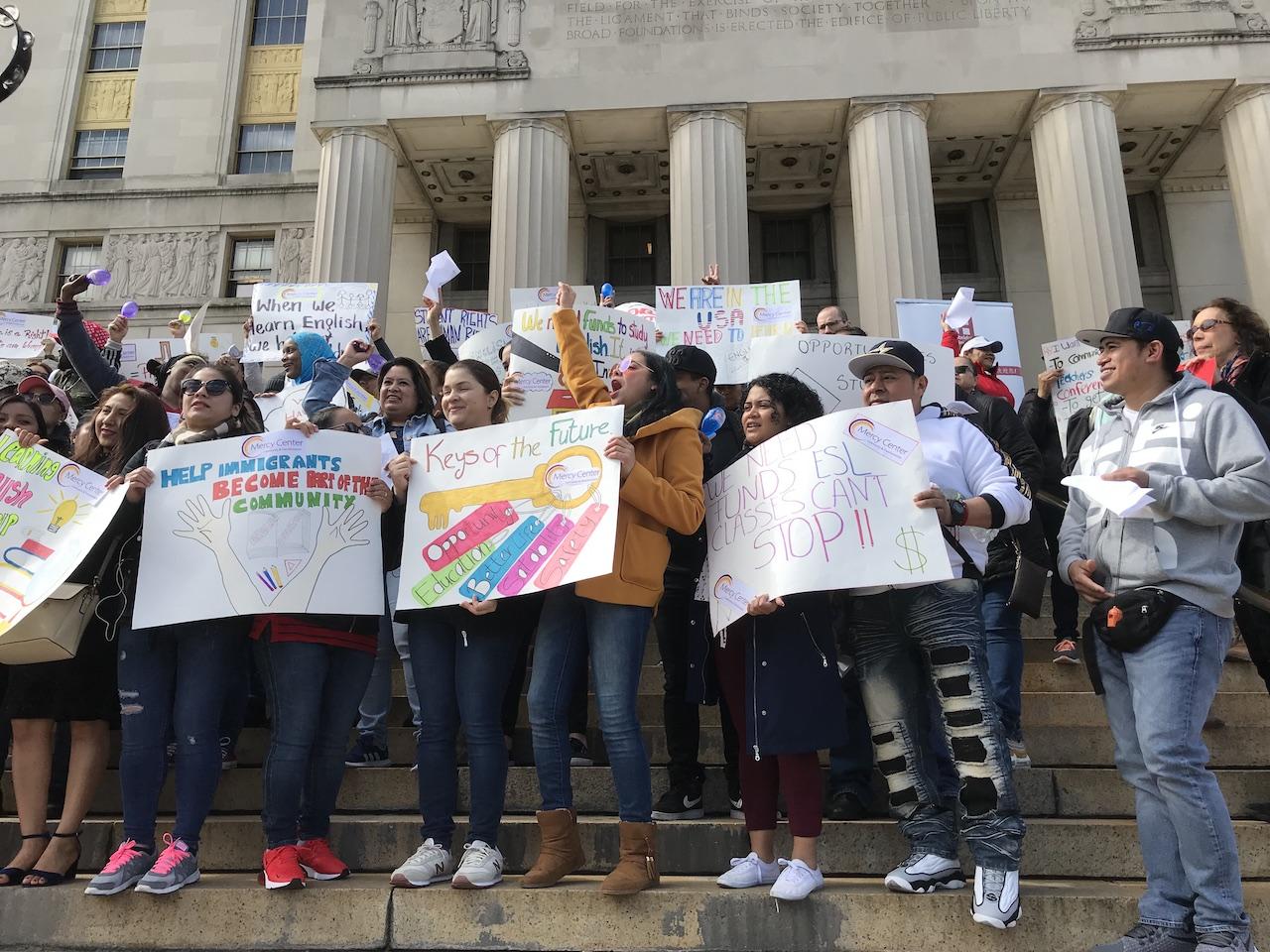 ESL students urge mayor to fund adult literacy
