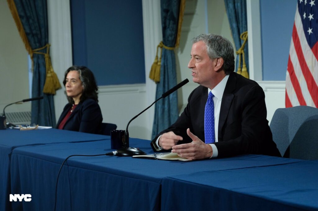 Mayor Bill de Blasio and New York City Department of Health and Mental Hygiene commissioner Dr. Oxiris Barbot at a press conference on April 13, 2020. Source: @NYCMayorsOffice Twitter