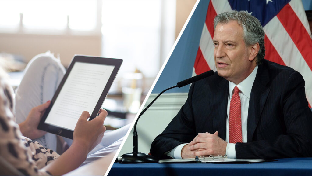 A tablet and New York City Mayor Bill de Blasio